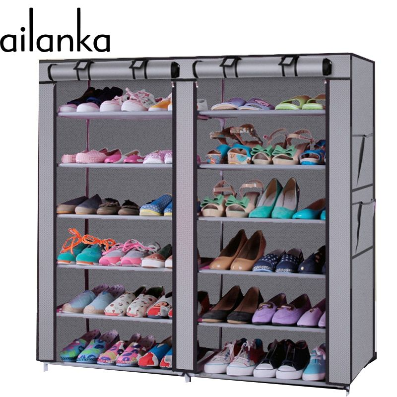 12 Grids 4 Colors Steel Pipe DIY assemble Folding cloth Non-woven Shoe Cabinet With Curtain For Living Room Or Doorway Shoe Rack