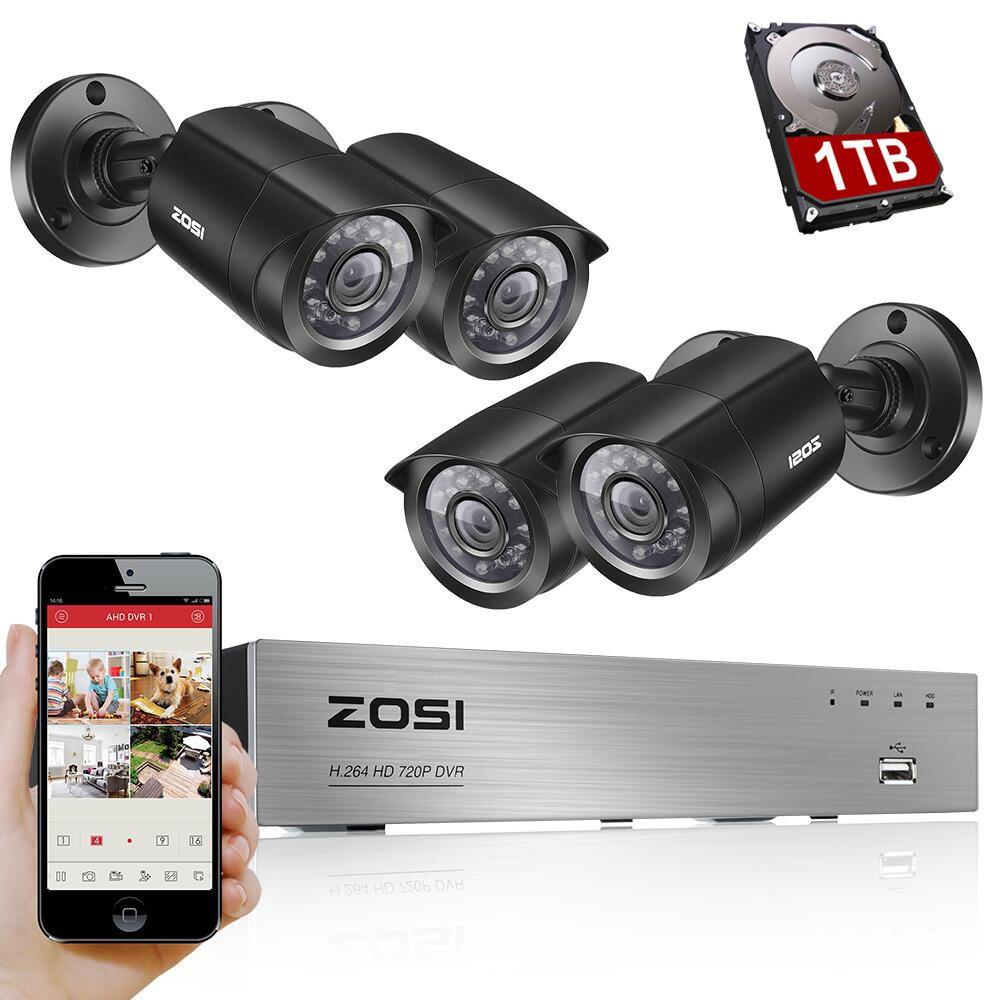 ZOSI 8CH CCTV System 4PCS 1280TVL Outdoor <font><b>Weatherproof</b></font> Security Camera 8CH 720P DVR Day/Night DIY Kit Video Surveillance System