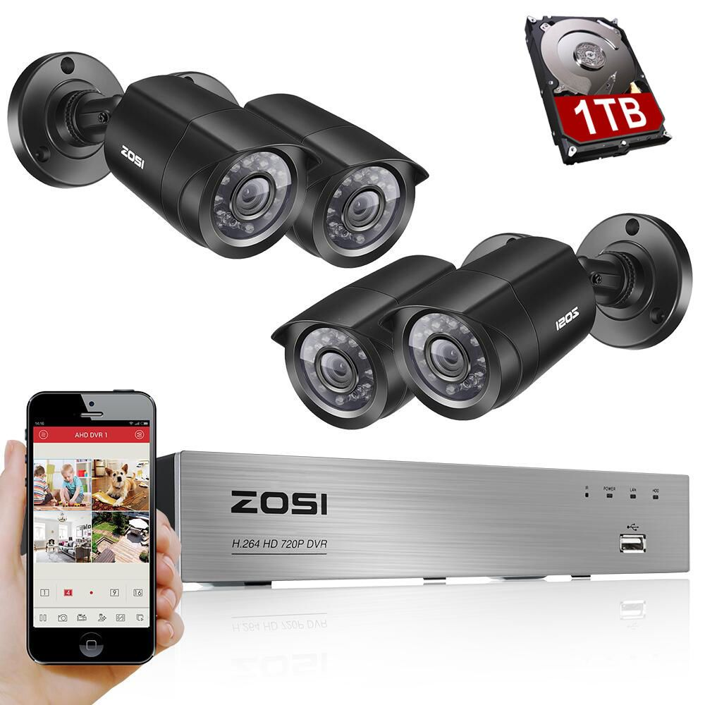 ZOSI 8CH CCTV System <font><b>4PCS</b></font> 1280TVL Outdoor Weatherproof Security Camera 8CH 720P DVR Day/Night DIY Kit Video Surveillance System