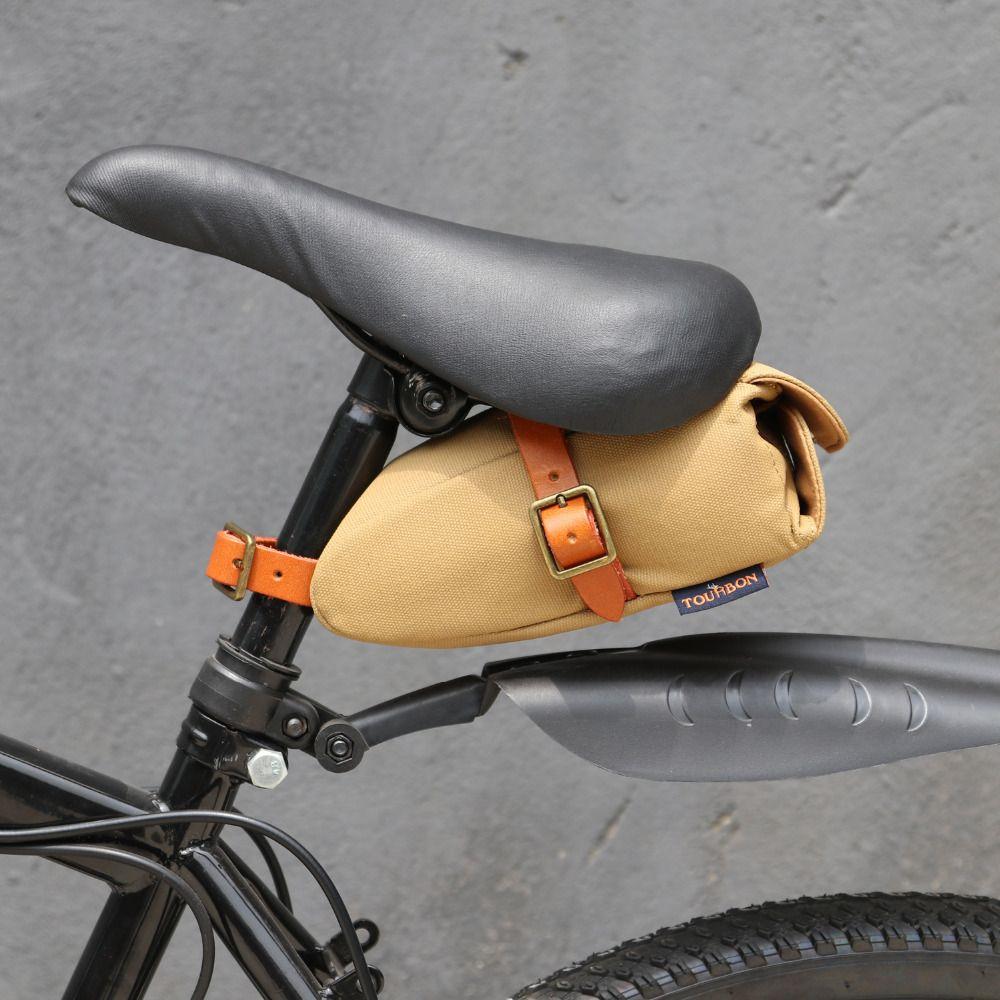 Tourbon Vintage Portable vélo siège de vélo queue selle sac kaki toile cuir clé téléphone pochette vélo accessoires