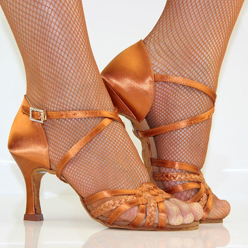 Baskets adultes chaussures de danse professionnelles fête salle de bal dames chaussures d'aérobic danse brun BD 2360-B Coupon chaud carré danse