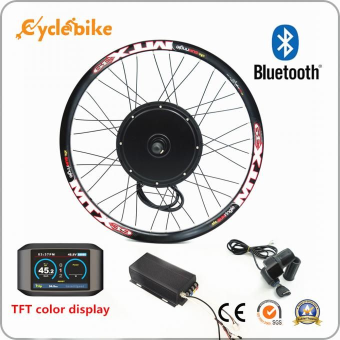 100km/h speed 45H V3 72v 3000w electric bike conversion kit sinewave controller TFT display system