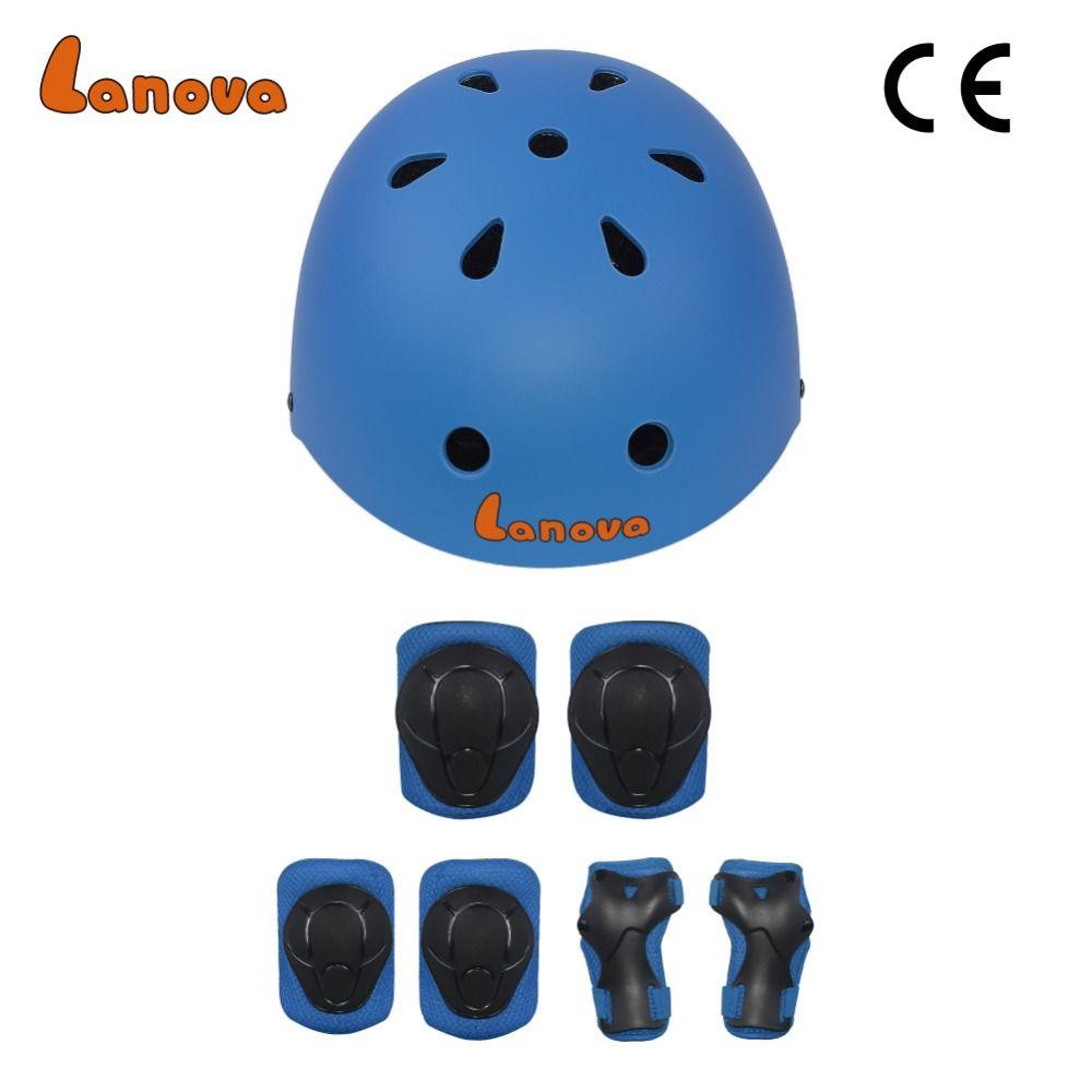LANOVA protecteur 7 pièces/ensemble cyclisme patinage Skateboard casque coude genou poignet coussinets enfants vélo vélo rouleau protéger équipement