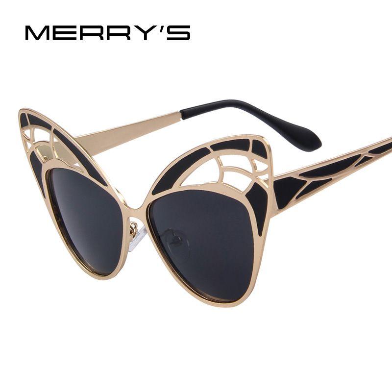 Merry's модные женские туфли бабочки сплава Рамки бренд Дизайн Солнцезащитные очки для женщин Для женщин Летний стиль Защита от солнца Очки Ó...