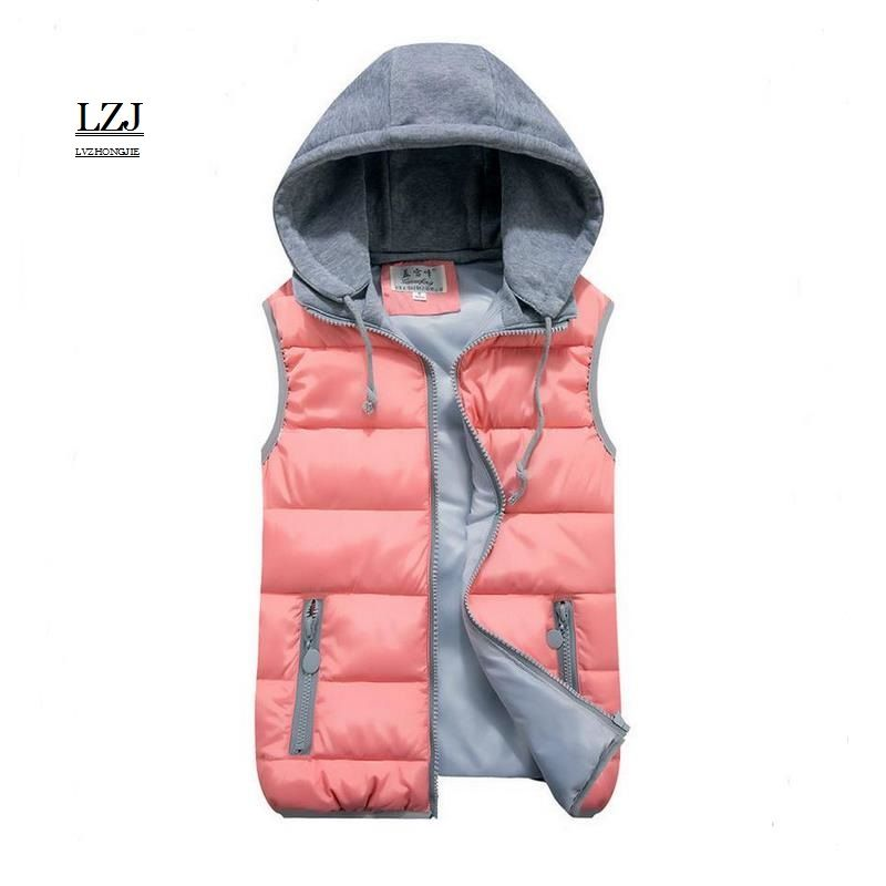 Femmes coton laine col à capuche vers le bas gilet amovible chapeau chaud de haute qualité tout nouveau femme hiver chaud veste & vêtements d'extérieur épaissir