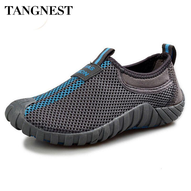 Tangnest hommes maille appartements 2017 nouveaux amoureux chaussures respirant réseau plate-forme chaussures hommes été mocassins taille 35-44 XYP007