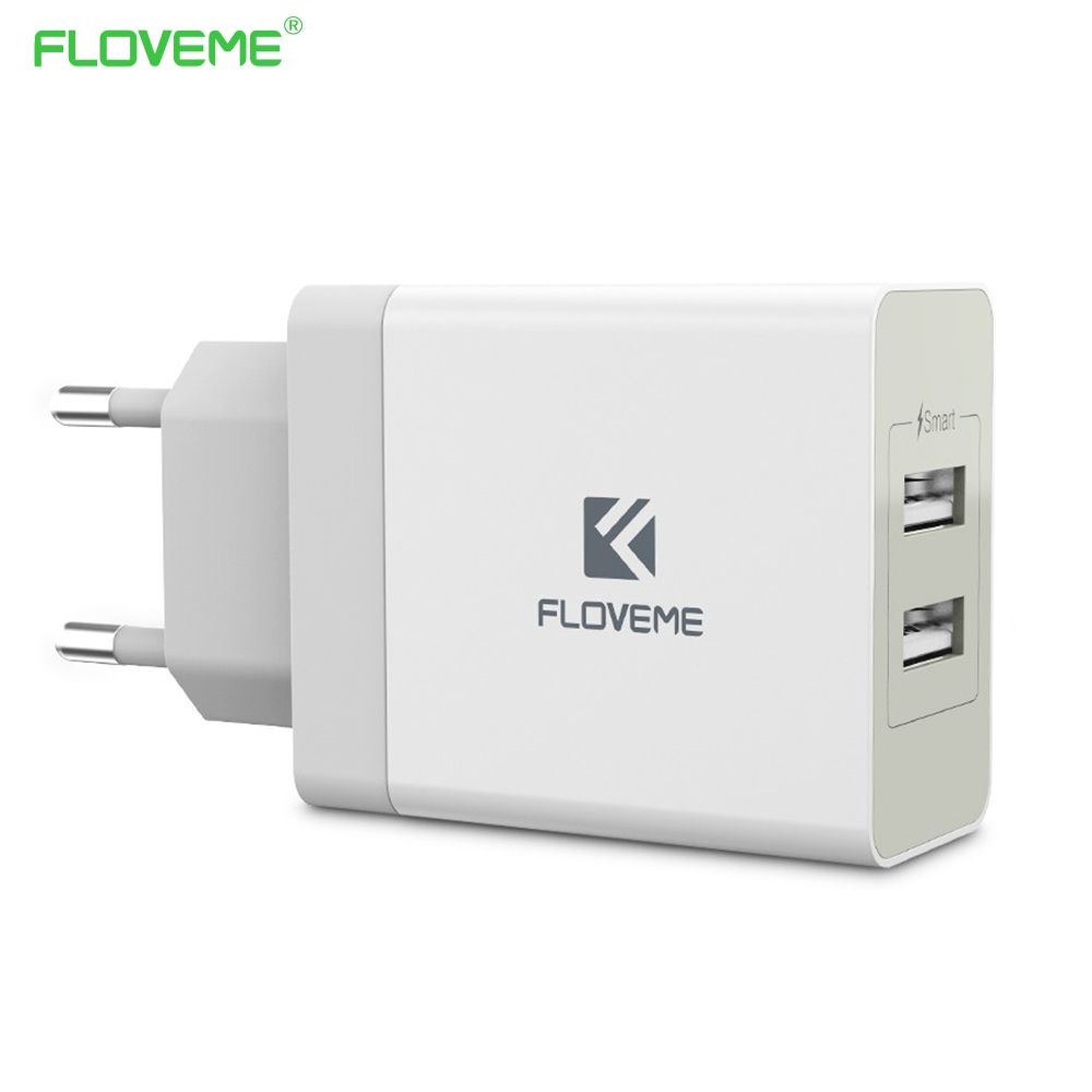FLOVEME 5V 3.4A USB Charger 2 Ports Wall Charging Power Port Adapter EU/US Plug Mobile Phone Charger For iPhone iPad Laptop