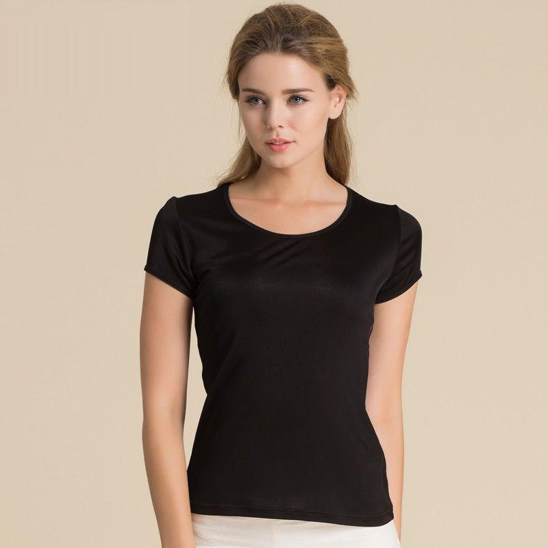 100% Pure soie femmes T-Shirts Femme hauts T-Shirts chemise femmes décontracté solide bonbons couleur femelle à manches courtes mode dames chemises