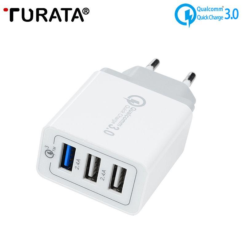 TURATA QC 3.0 USB chargeur mural universel Charge rapide 3.0 30 W rapide chargeur de téléphone portable pour Samsung iphone X 8 Smartphone Huawei
