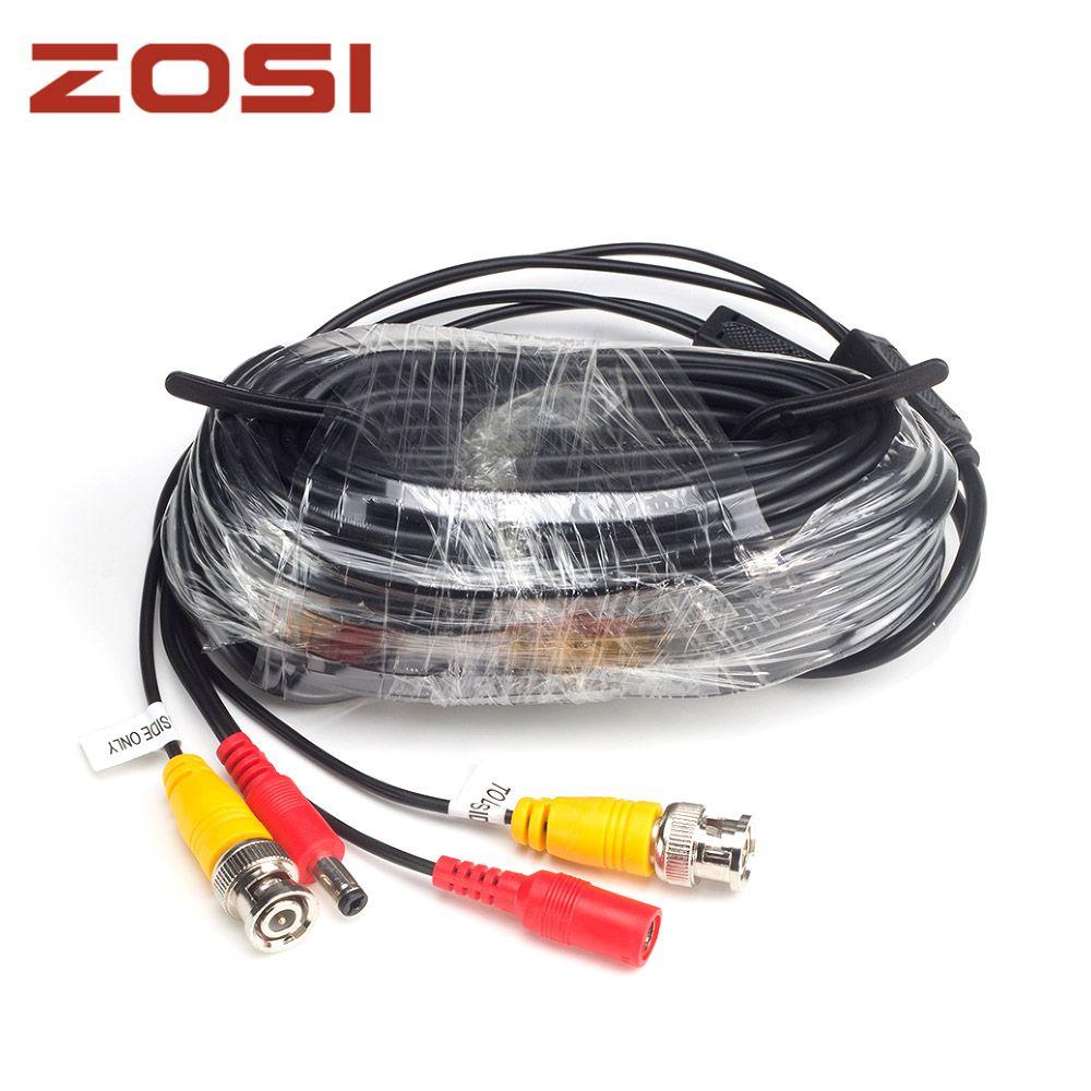 ZOSI 18.3 м видеонаблюдения видео BNC + DC штекер кабеля для камеры видеонаблюдения и DVR системы коаксиальный кабель черный цвет