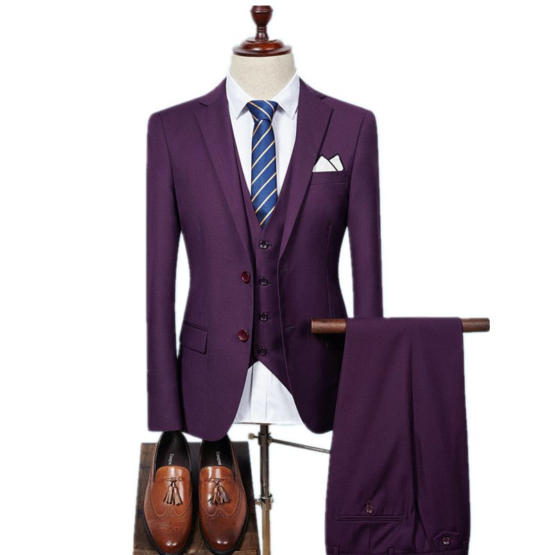 (Jacket+Vest+Pants)Men Slim Fit Suits men's Wedding Suits With Pants Business Mens Formal Wear High quality men's casual suits