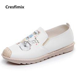 Cresfimix Sepatu Piring Pour Femmes Wanita Kasual Nyaman Kanvas Sepatu Datar Wanita Lucu Musim Semi dan Musim Panas Slip Pada Pantofel