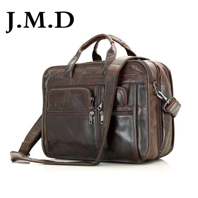 J.M.D 100% Genuine Vintage Leather Men's Chocolate Shoulder Messenger Bag Briefcase Laptop Handbags 7093