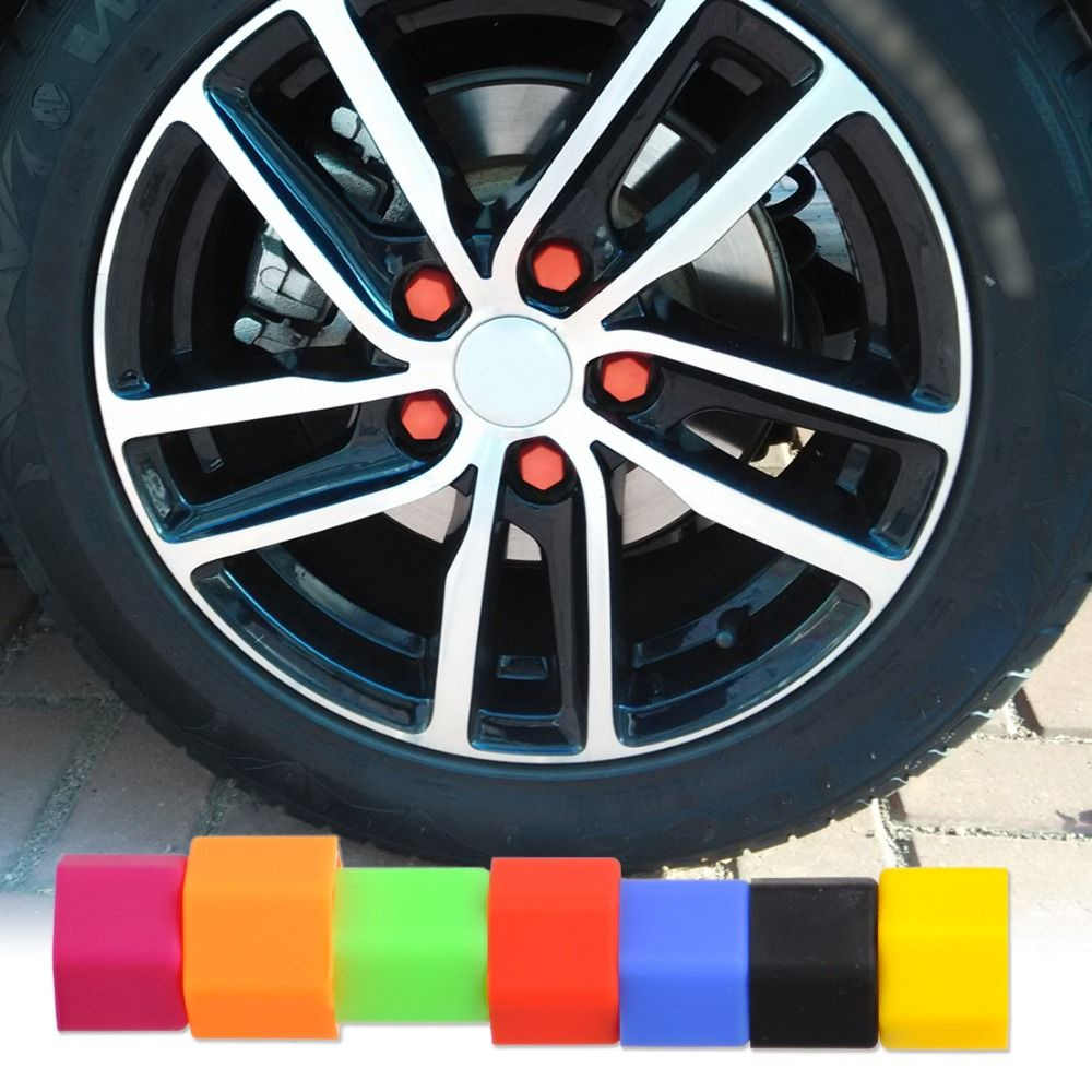 DWCX 20x Universal Silicone Hexagonsal Car Wheel Lug Nut 21mm Bolt Cover Protective Tyre Valve Screw Cap Antirust Nut Bolt Rims