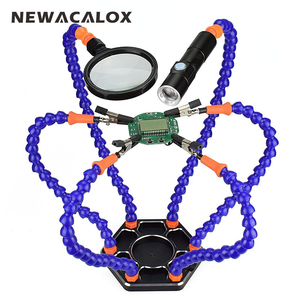 NEWACALOX Soldering Station Third Pana Hand with 6pc Helping Hands USB Rechargeable Flashlight Magnifying Glass Welding Tool