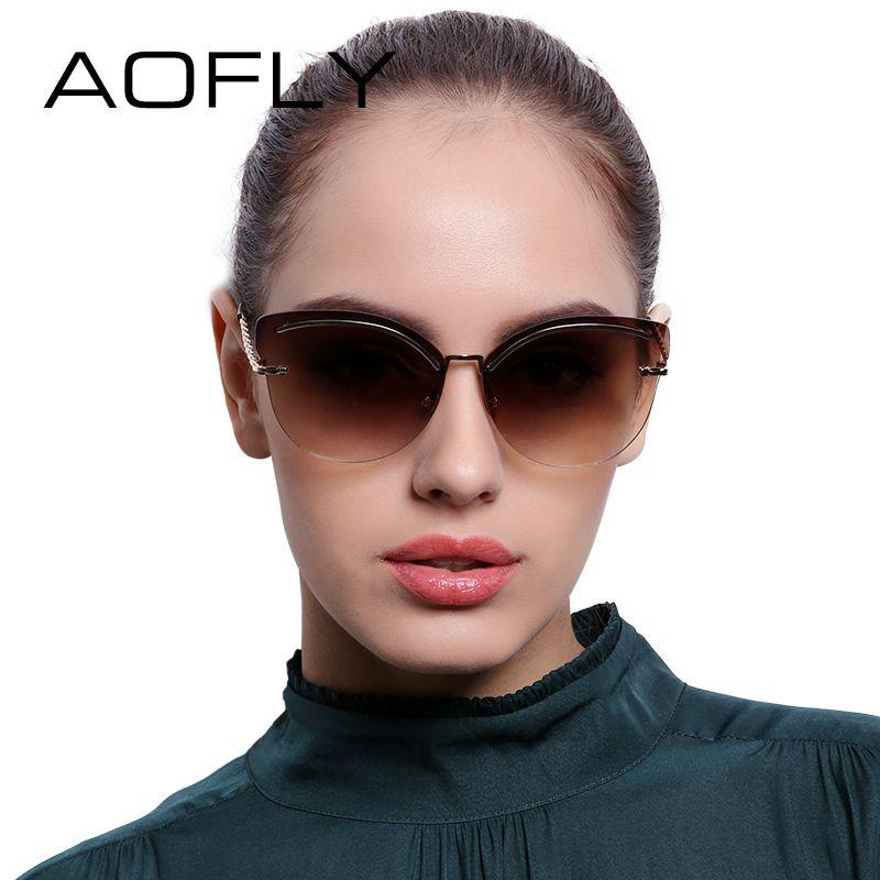 AOFLY lunettes de Soleil Sans Monture Femmes Rose Miroir Réfléchissant Lunettes de Soleil Alliage Jambes Style Élégant Lunettes Conception Originale oculos AF7941