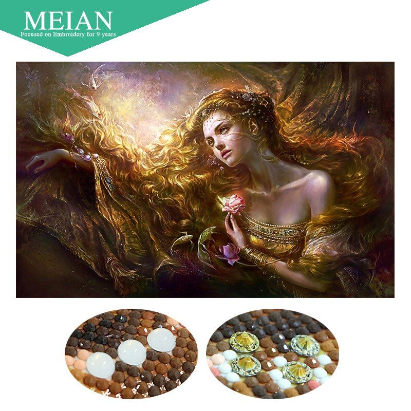 Meian,Special Shaped,Diamond Embroidery,Beauty,Lady,5D,Diamond Painting,Cross Stitch,3D,Diamond Mosaic,Decoration,Christmas