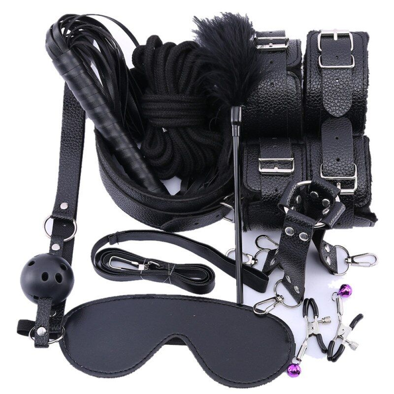 Porno Sex Handcuffs Nipple Clamps Whip gag Bdsm Sex Collar mask Bondage Set Sexy Lingerie Handcuffs for sex