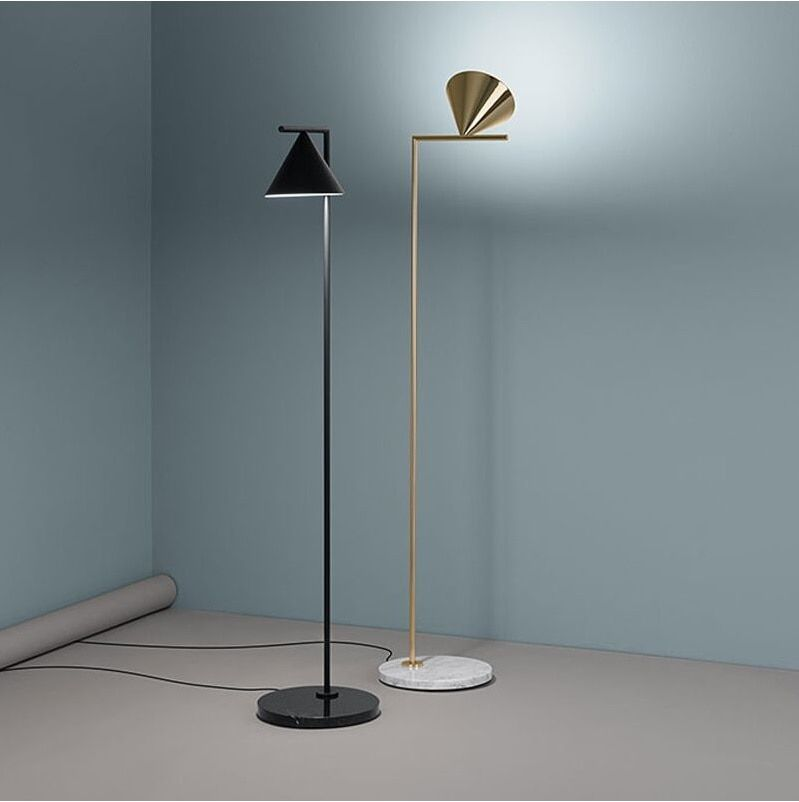 156cm Floor Lamp with Steel Rod and Iron Shade, Black or Golden Bronzing
