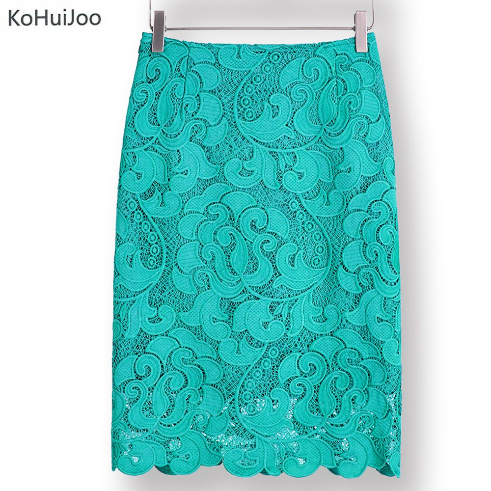 KoHuiJoo 2018 High Waist Bodycon Lace Skirt Womens Black White Green Blue Feminino Formal High Quality Ladies Pencil Skirts
