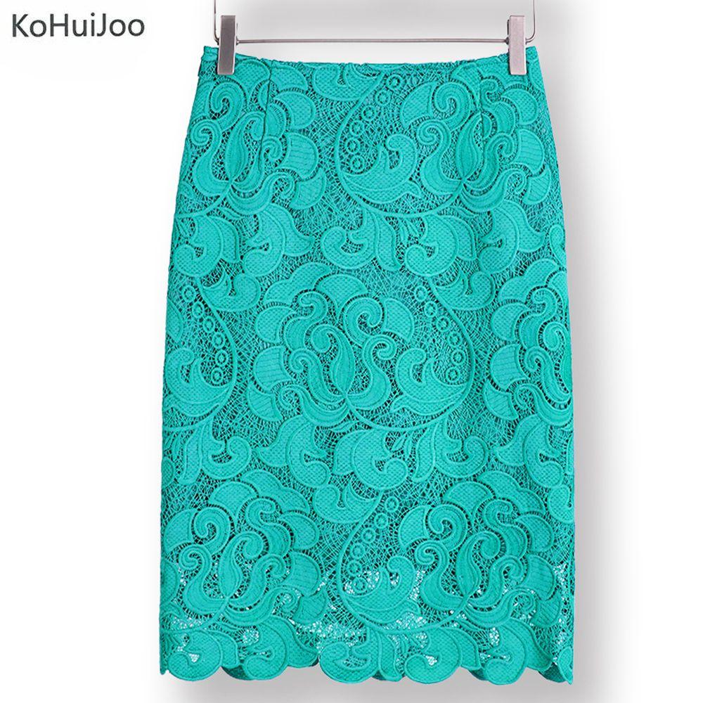KoHuiJoo 2018 High Waist Bodycon Lace Skirt Womens Black White Green <font><b>Blue</b></font> Feminino Formal High Quality Ladies Pencil Skirts