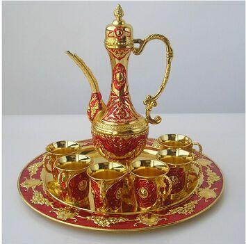 8PCS/set gold red metal wine set wine decanter 1flagon+6cups distillation machine whiskey decanter for home decoration JJ009