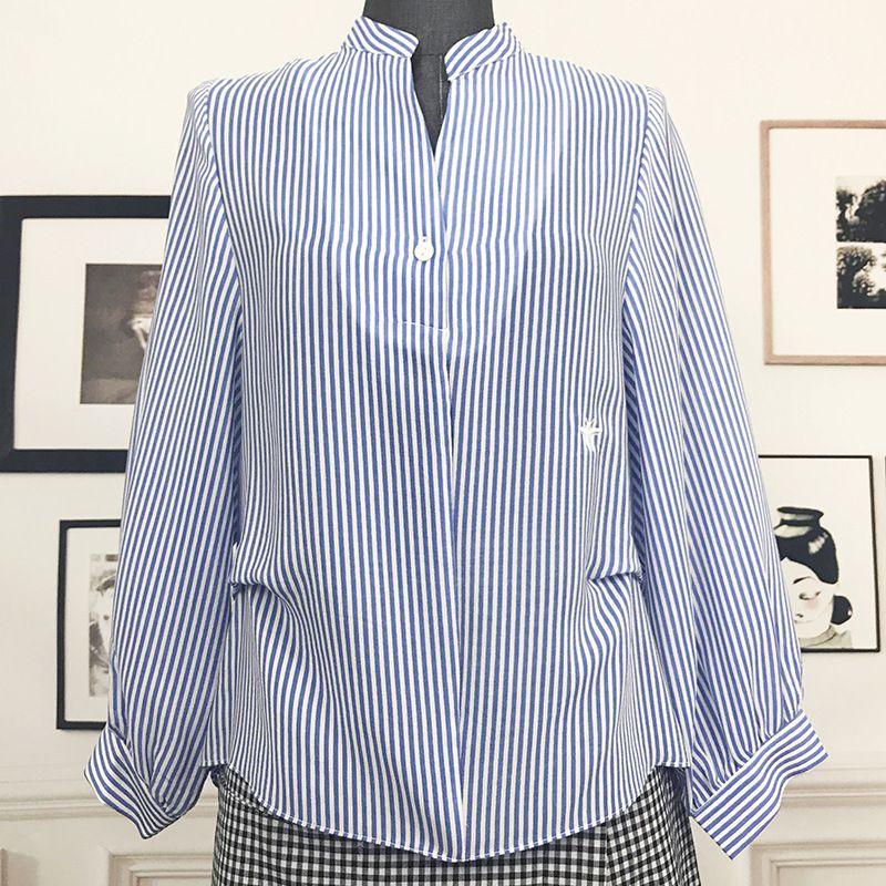 High quality striped silk blouse 2018 new brand runway women sprint summer shirts office lady v-neck long sleeve shirts
