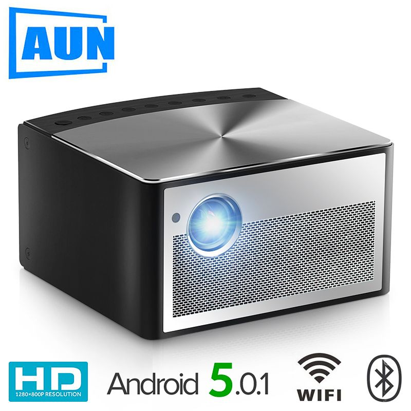 AUN Smart Projector H1, 1300 ANSI Lumens. Memory: 2G+16G. Build in Android, WIFI, HDMI. MINI LED Projector. 1080P Home Theater