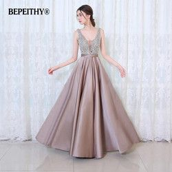 BEPEITHY V-Neck Beads Korset Buka Kembali A Long Line Evening Dress Partai Elegant Vestido De Festa Pengiriman Cepat Prom Gowns