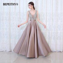 BEPEITHY V-ausschnitt Perlen Mieder Open Back A-linie Langes Abendkleid Partei Elegante Vestido De Festa Schnelle Lieferung Abendkleider