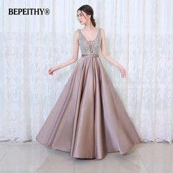Bepeithy V-Leher Manik-manik Korset Buka Kembali Garis Panjang Gaun Malam Pesta Elegan Vestido De Festa Pengiriman Cepat Prom Gaun