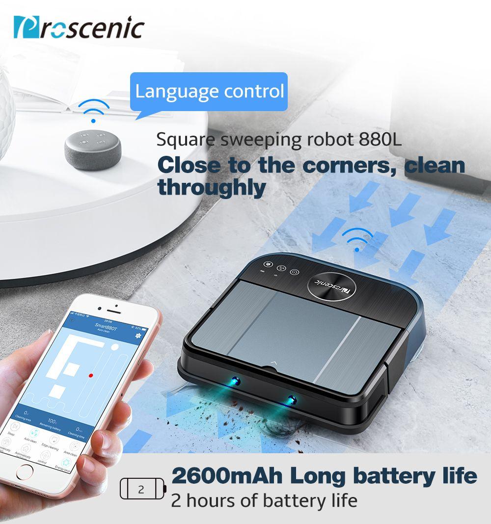 Proscenic Cocosmart 880L Roboter Staubsauger WiFi Konnektivität Alexa Control Kehr Mop 2 in 1 Fernbedienung Robotic Reiniger
