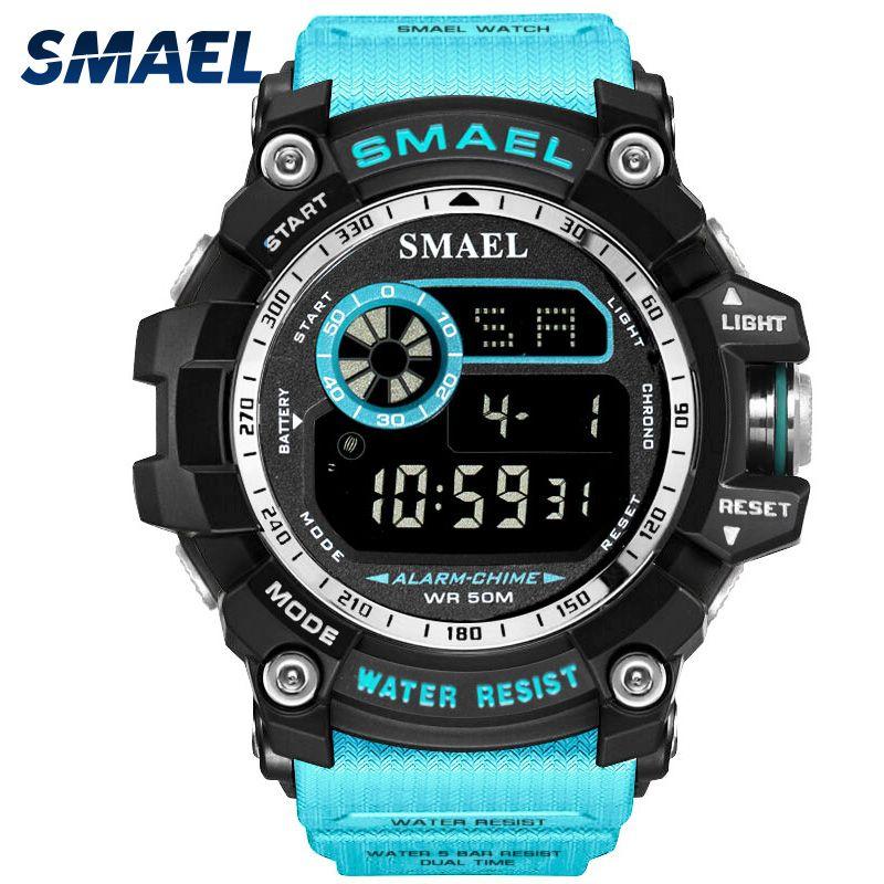 SMAEL Digitale Uhren Männer Große Zifferblatt Sport Uhr Lauf 50 mt Wasserdicht LED Uhr Digital Uhr Licht 8010 Männer Digital uhr Sport