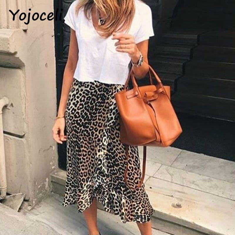 Yojoceli sexy leopard print ruffled skirt bottom women asymmetrical female party club skirt bust skirt