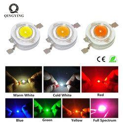 10 pcs 1 W 3 W High Power LED Light-Emitting Diode Chip de LEDs SMD Branco Quente Verde Vermelho azul Amarelo Para Downlight Holofotes Lâmpada do Bulbo