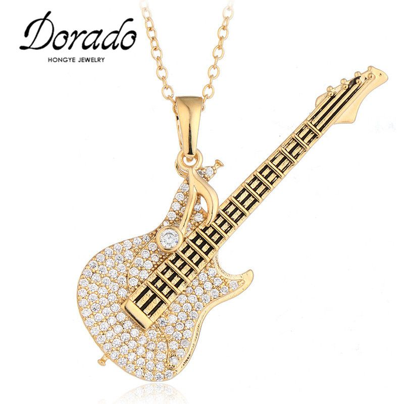 Rhinestones <font><b>Guitar</b></font> Pendant Necklace For Women Gold Silver Color Alloy Long Chain Female Necklaces & Pendants Fashion Jewelry