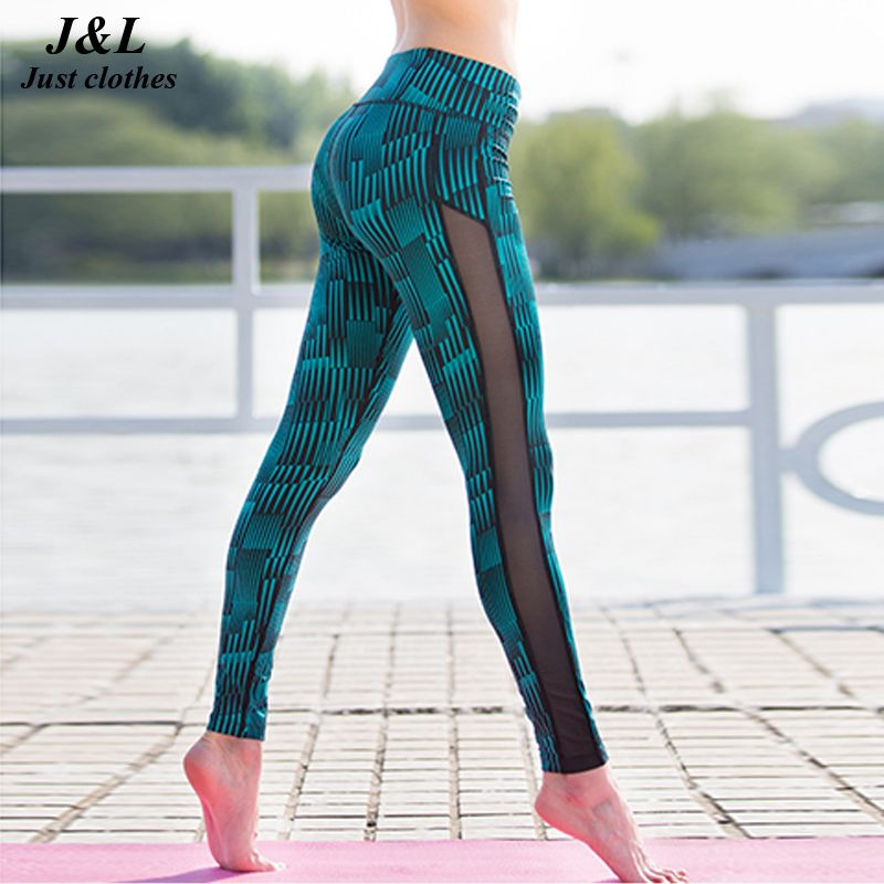 Fashion New Stripe <font><b>Mesh</b></font> Patchwork Women Pants Sporting Leggings Fitness Summer Print Dry Quick Force Exercise Pants For Women