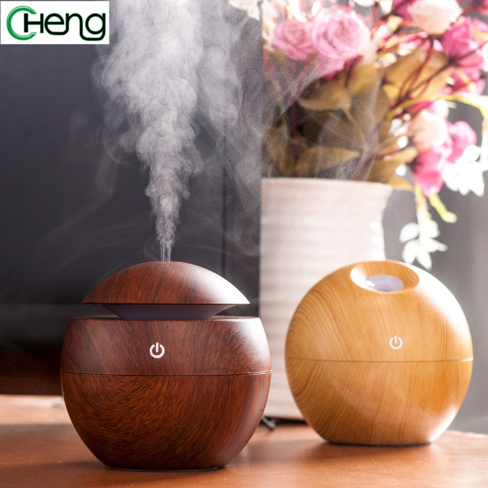 Mini Portable Exquisite Wooden Atomizer Comfort Air Humidity Diffuser Purifier Ultrasonic Aroma Humidifier Lamp USB Diffuser