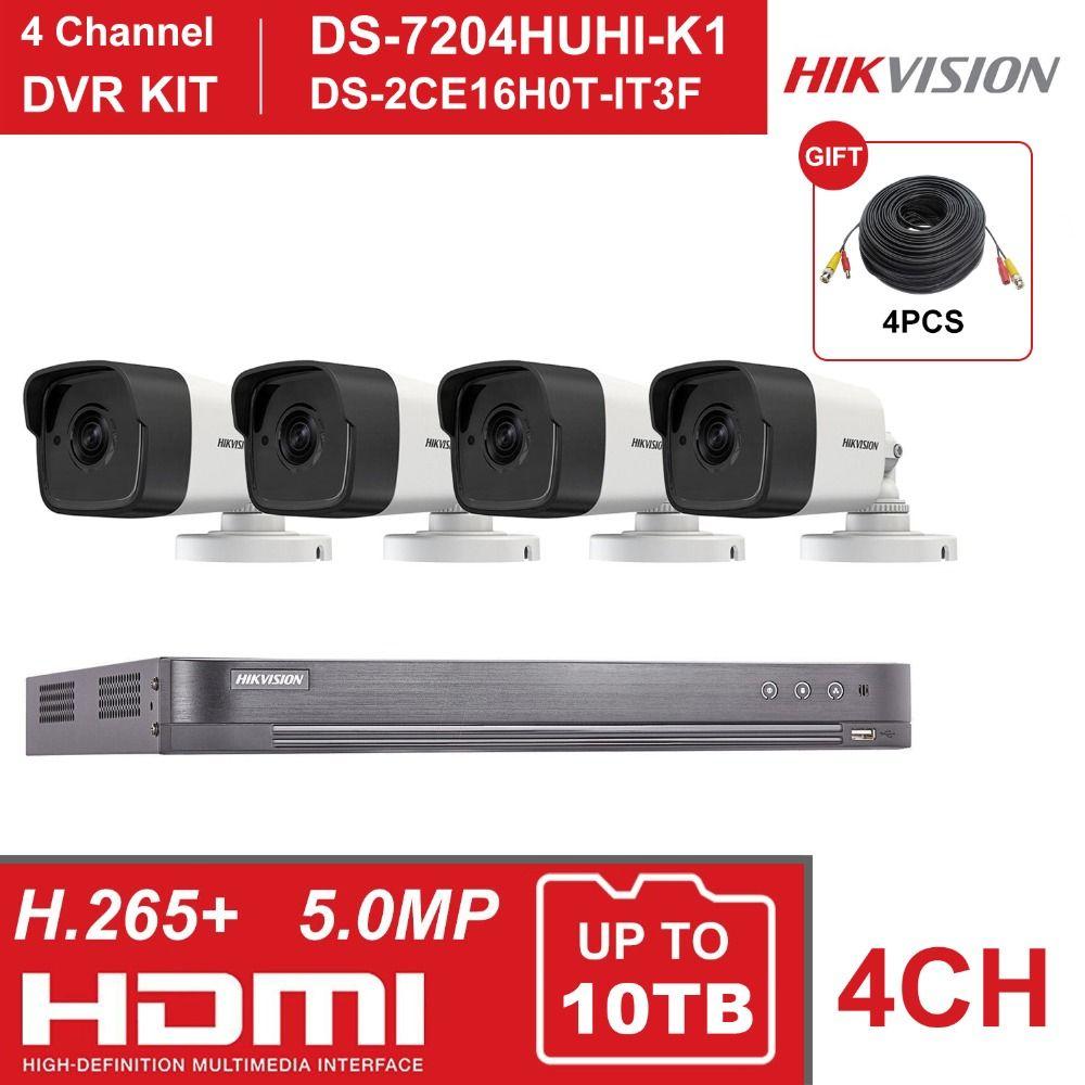 HIK 4CH DVR KIT Hybrid 4 Kanal Überwachung Video Recorder DS-7204HUHI-K1 5MP Kugel Sicherheit Analog Kamera DS-2CE16H0T-IT3F