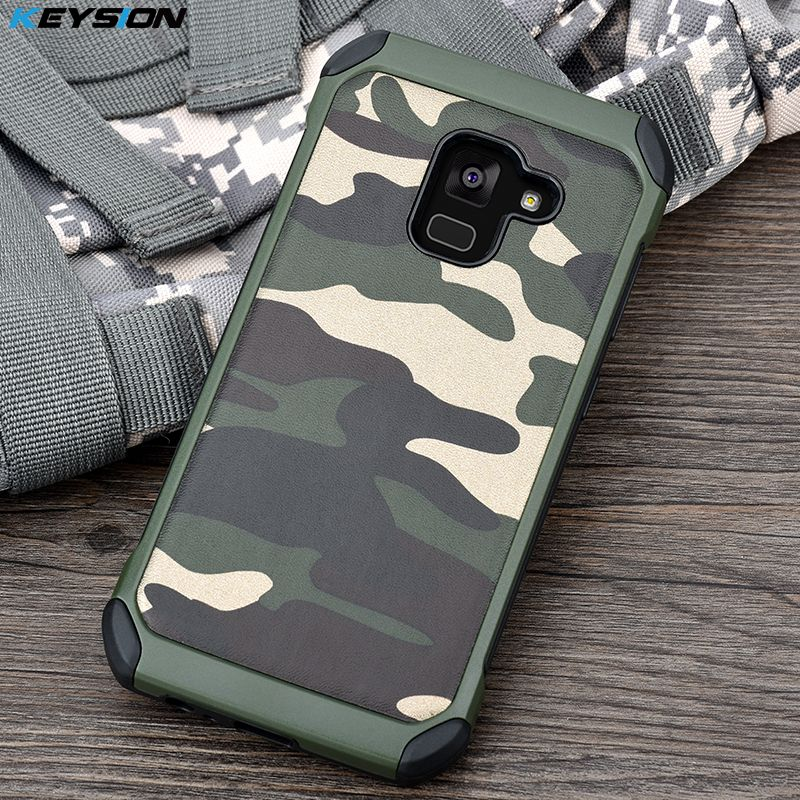 KEYSION Case for Samsung Galaxy A8 (2018) Army Camo Camouflage Pattern PC+TPU 2 in1 Anti-knock Back Cover for A8 Plus 2018