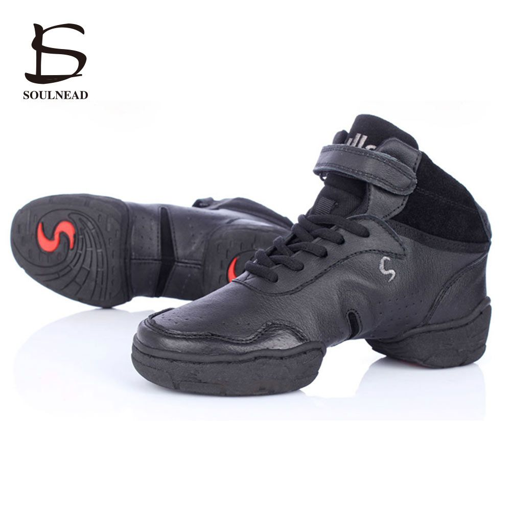 White Black Red Sneakers For Women And Men Modern Salsa Jazz Dancing Shoes Genuine Leather With Breathable Men's Dance Sneakers