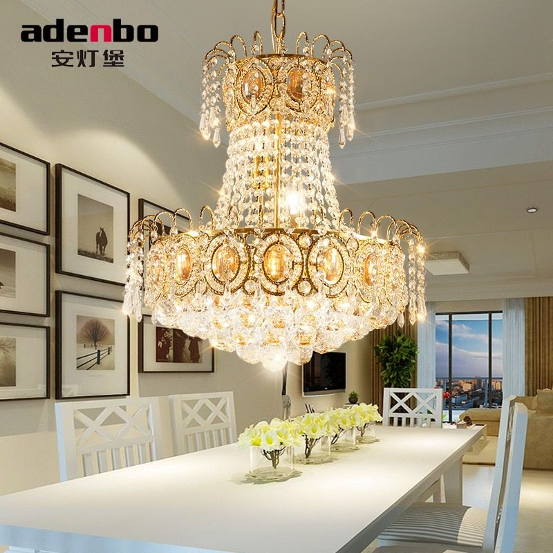 Modern Gold LED Chandelier Lighting Fixture Crystal Chandeliers Lustre LED Dining Room Lamp For Room Decoration 45cm
