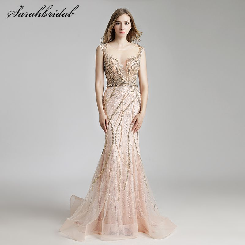 Vestido De Festa Latest Luxury Styles Elegant Long Mermaid Evening Dresses 2018 Crystal Party Gowns Formal Robe De Soiree LSX428