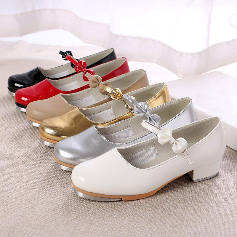 Women/Girls Tap Dance Shoes Patent Leather Shiny Red /Black/White Tap Shoes for Kids Teacher Practice Performance Shoes T30