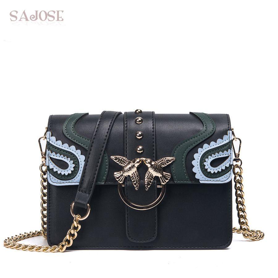 SAJOSE 2018 Female Brand Hand Bag Woman Messenger Bags Lady Rivet chain Women Fashion Leather Shoulder Bag Girl Crossbody Bags