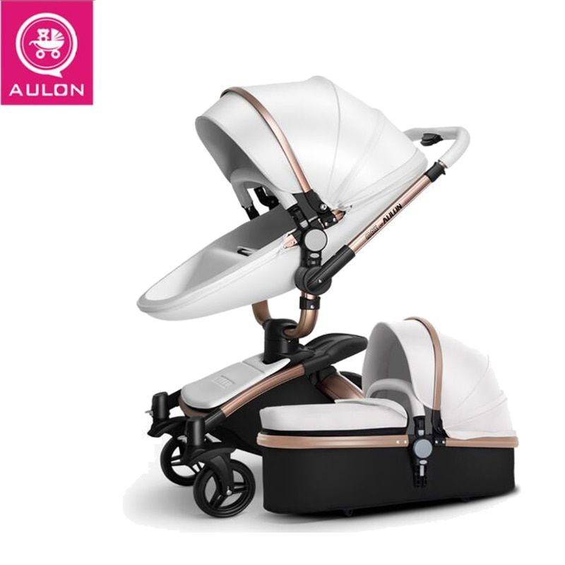 AULON Strollers Folding bi-directional high landscape stroller artificial leather