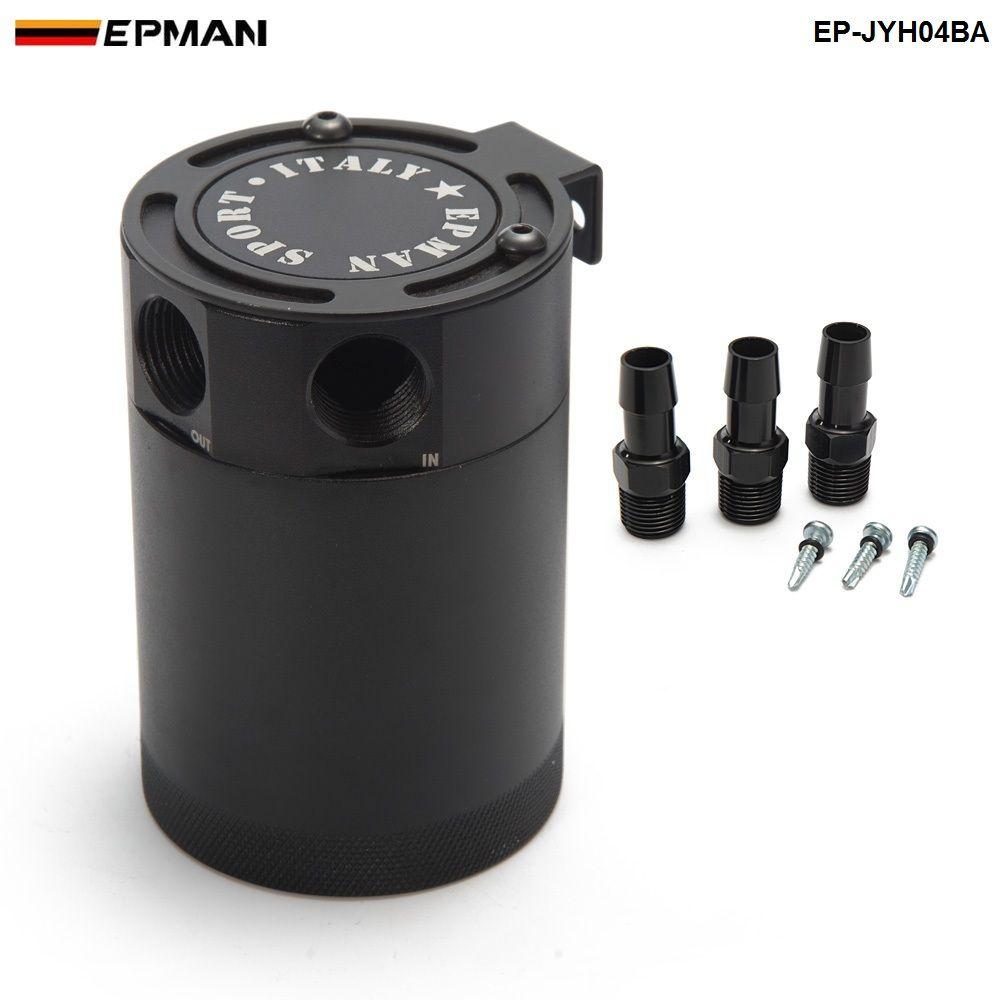 New Black Racing Baffled Aluminum 3-Port Oil Catch Can/Tank/Air-Oil Separator Universal EP-JYH04BA