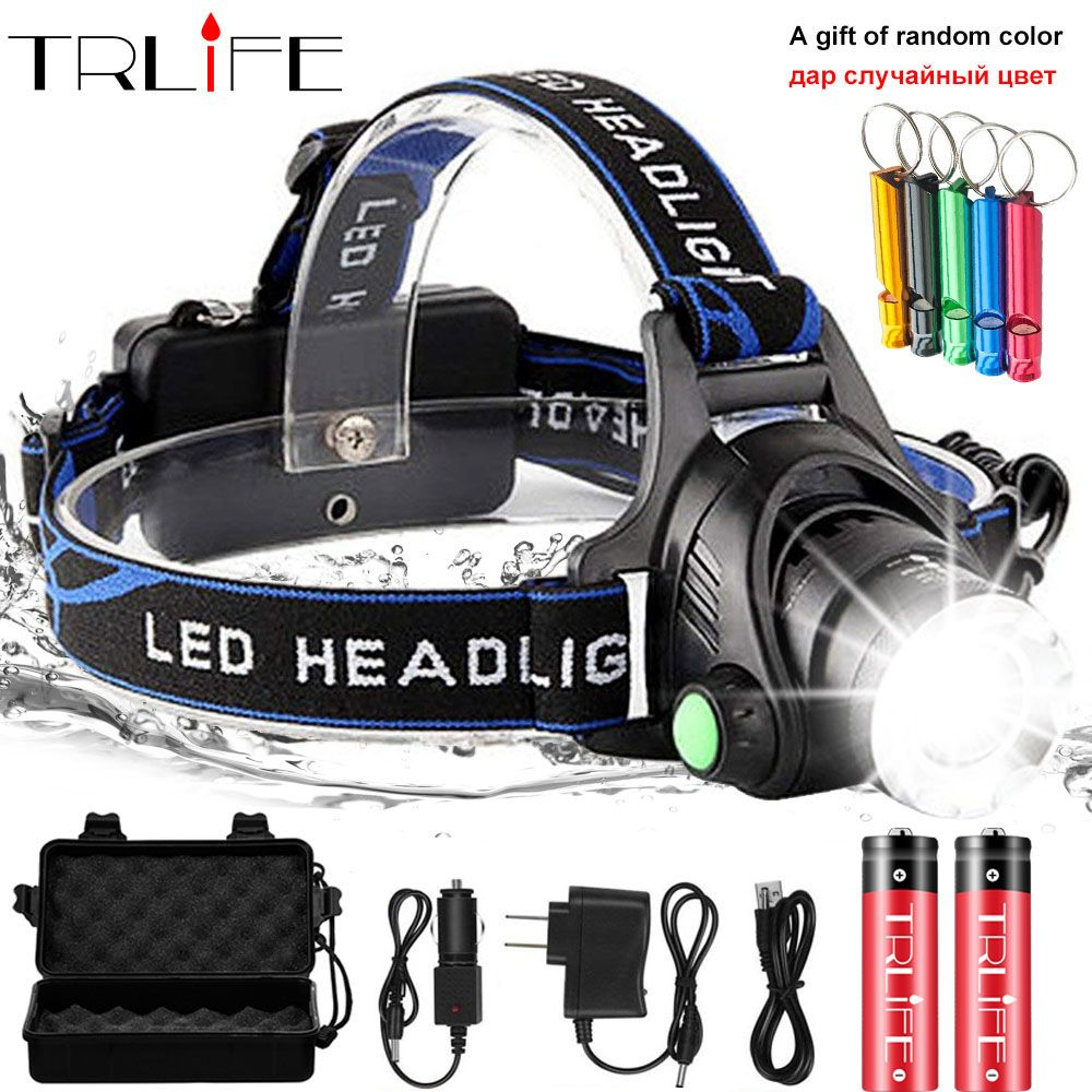 LED Headlight 10000lum Led Headlamp V6/L2/T6 Zoom Headlight Torch Flashlight Head lamp use 2*18650 battery by Fishing add a gift