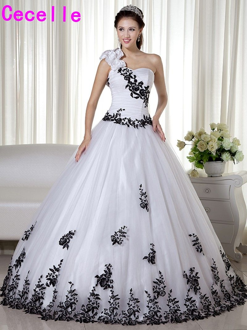 Black And White One Shoulder Ball Gown 2018 Wedding Dresses Vintage With Straps Colorful Non White Robe De Mariee With Color