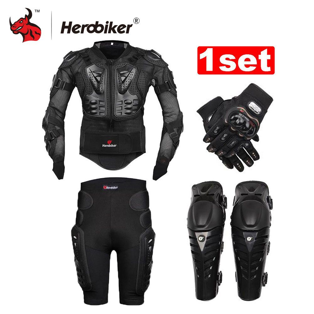HEROBIKER Unisex Motorcycle Body Armor Protective Jacket+ Gears Short Pants+protective Motorcycle Knee Pad+gloves